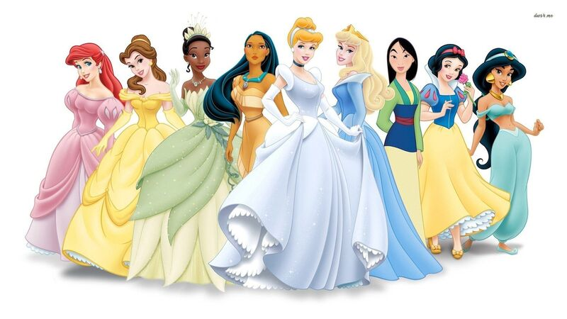 a lineup featuring the classic disney princesses